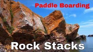 Paddle Boarding Lake Superior Rock Stacks - Horseshoe Harbor - Keweenaw Peninsula Michigan